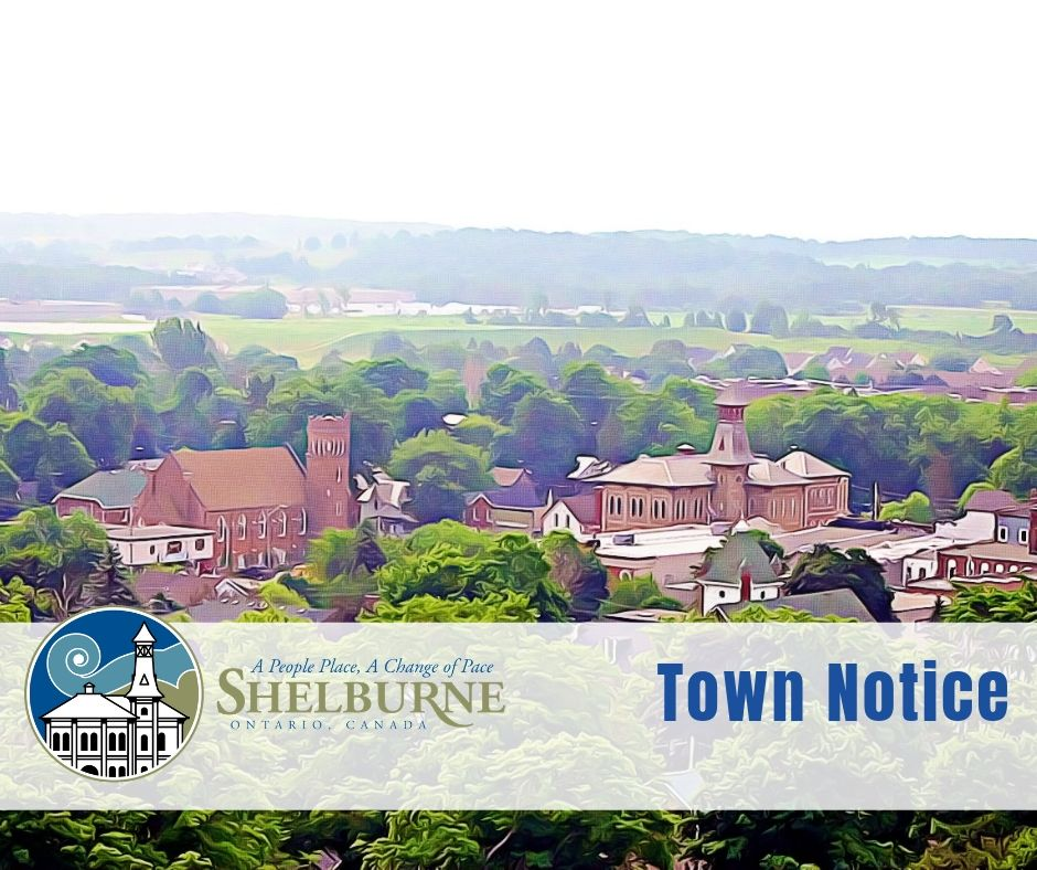 View of the Town of Shelburne downtown district with text Town Notice