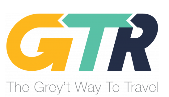 Logo bold letters GTR Grey Transit Route
