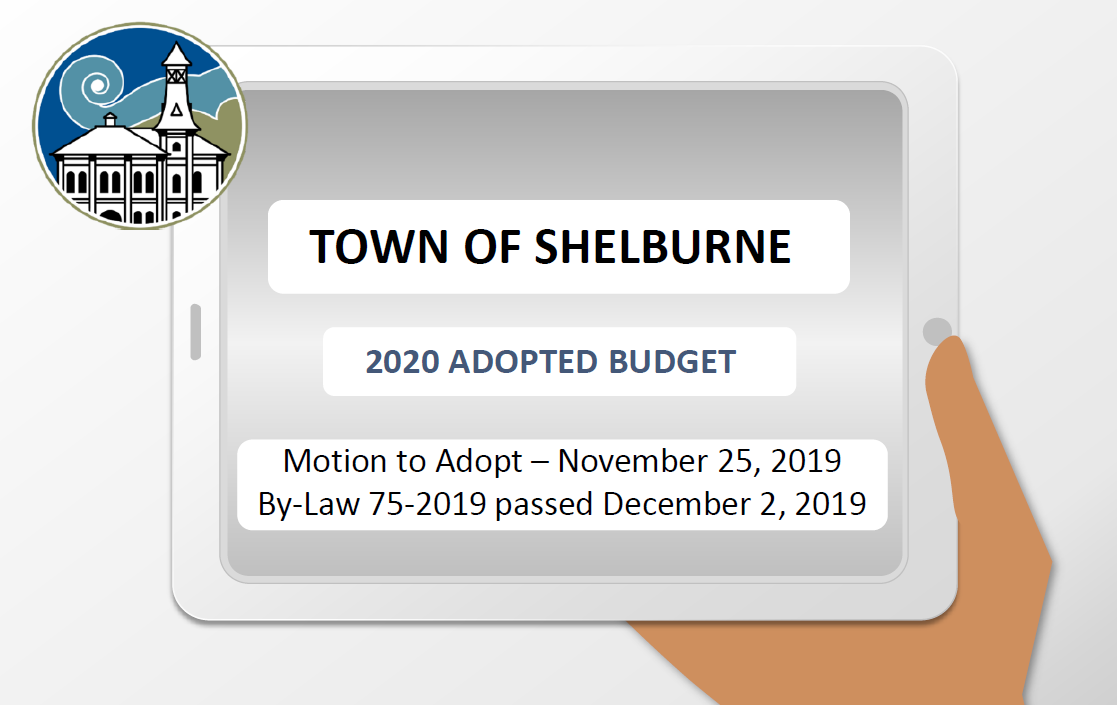 Cartoon image of hand holding a placard with text Shelburne 2020 adopted budget