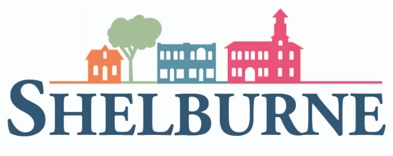 Logo with cartoon buildings and text Shelburne