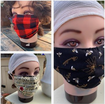 Homemade Reusable Face Masks on Manniquin
