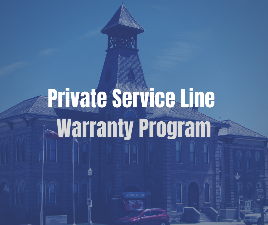 Blue image of old historic building with text Private Service Line Warranties