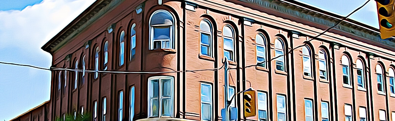 Painting of historic  2 storey curved red brick corner building