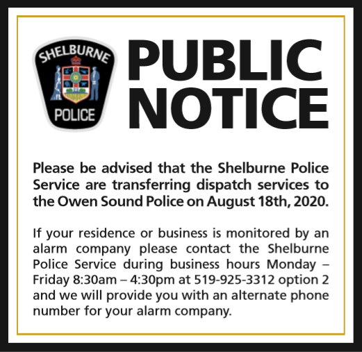 Shelburne Police Service Public Notice Public Notice Police Transferring Dispatch Services