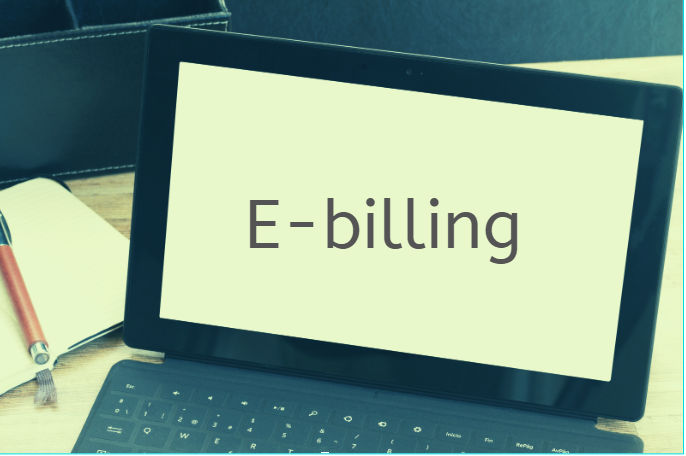 Image of laptop with E-billing on the screen